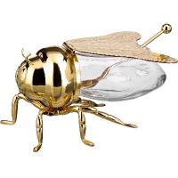 АМ золото Пчела банка для меда+ложка, металл, стекло н=8 см., дл=14 см./24/