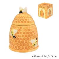 Банка для меда 450 мл Пчелки на сотах / 110826/уп/ 10,5х10,5х14 см