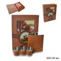 ГА Набор подарочный Книга охотника фляжка+3 стопки/FL-112/уп60/  641385