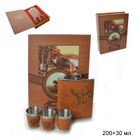 ГА Набор подарочный Книга охотника фляжка+3 стопки/FL-113/уп60/  641385