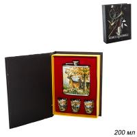 ГА Набор подарочный Книга охотника фляжка+3 стопки/FL-125/уп60/  650101