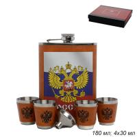 ГА Фляжка Герб России +4 стопки, воронка/FL-212/уп 60
