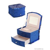 Шкатулка для украшений 102-490 синий. /уп.48